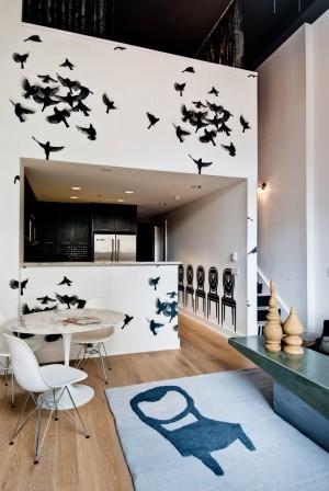Декор кхни своими руками с помощью виниловых наклеек в виде птиц