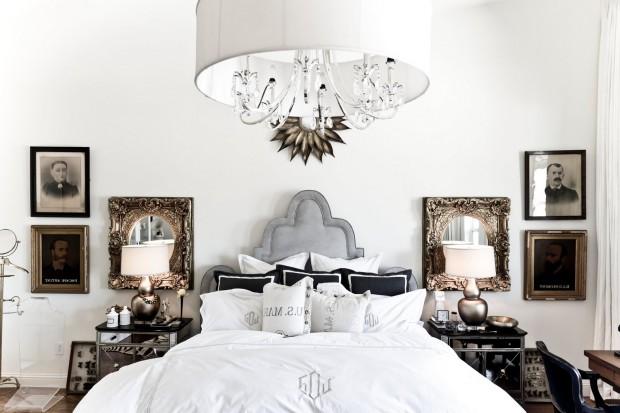 Современная и  в тоже время богемная спальня с элементами золота в интерьере