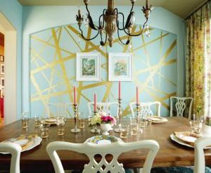 Роспись стены золотой краской