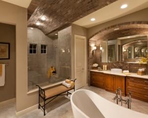 Использование кирпича в ванной комнате