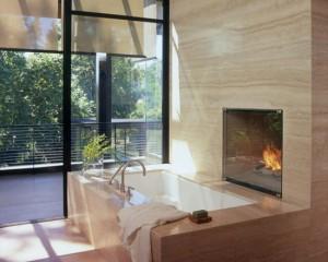 Мраморная ванная с камином