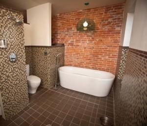 Необработанная кирпичная стена за ванной