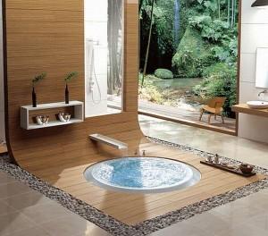 Роскошный интерьер ванной комнаты в восточном стиле с джакузи