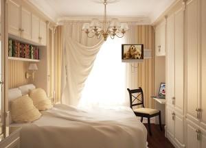 Небольшая спальня в постельных тонах