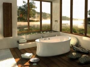 Интерьер ванной с панорамными окнами