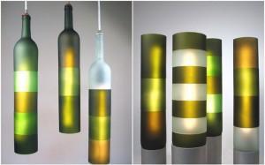 Люстра из нарезанах разных цветов бутылок