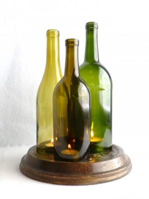 Подставка под свечи из бутылки