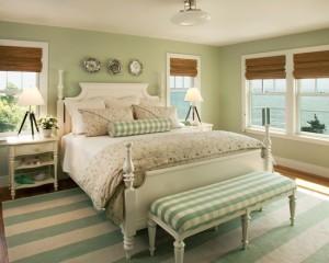 Теплые тона салатового в интерьере спальни