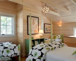 Деревянная спальня с элементарный декора в салатовом цвете