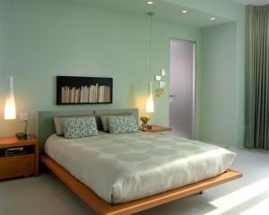 Фото: холодный салатовый цвет в спальне