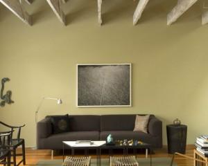 Салатовая комната в стиле минимализм