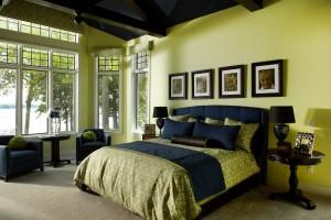 Фото: сине-салатовая спальная комната