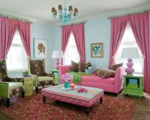 Сочетание голубого фиолетового и зеленого в комнате для девочки подростка