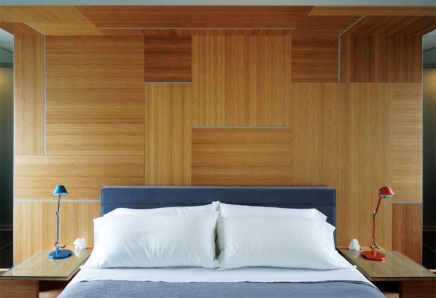 Спрессованный бамбуковые панели в изголовье кровати
