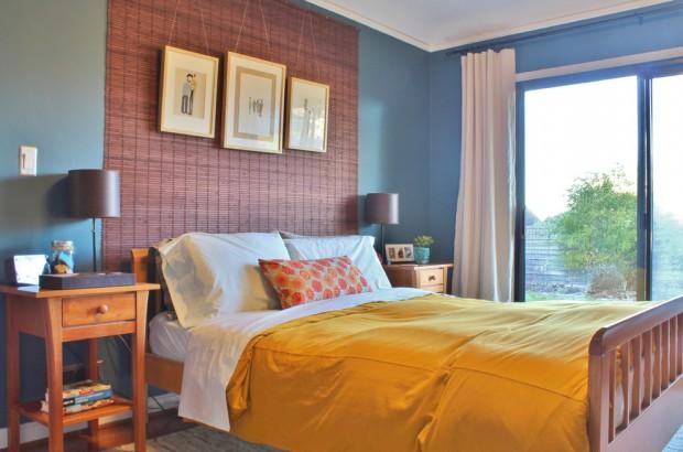 Покрашенная бамбуковая стена над изголовьем кровати