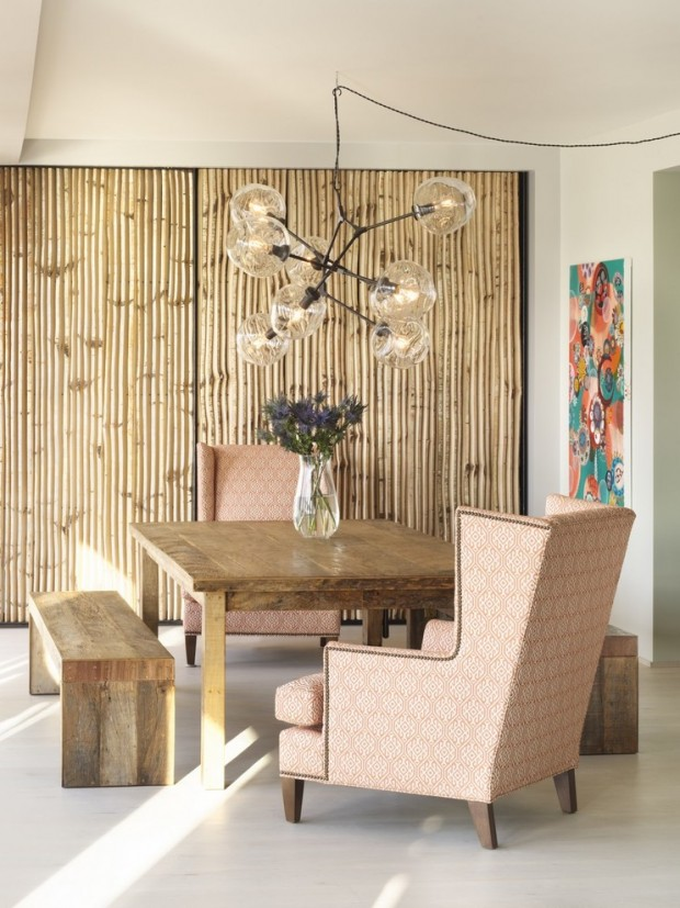 Бамбук в интерьере современной гостиной