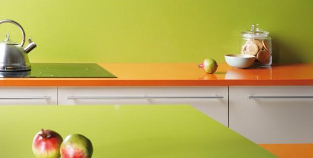 Салатовый и оранжевый в интерьере кухни