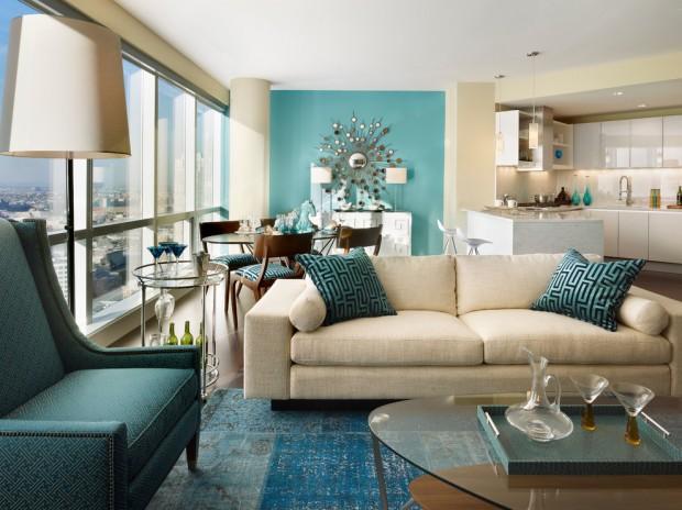 Классическая гостиная в бирюзовом цвете