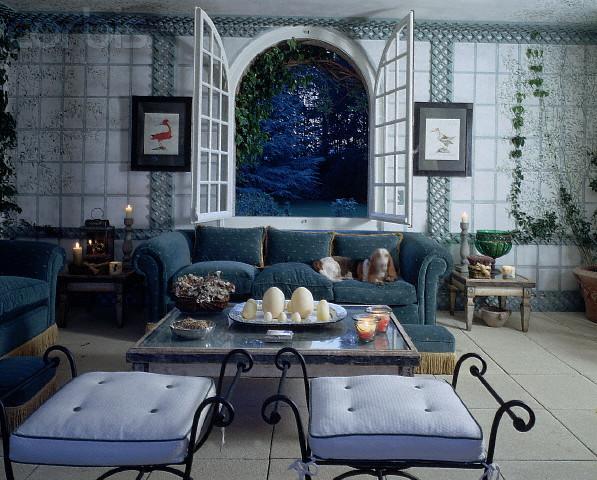 Итальянский стиль интерьера в синим цвете