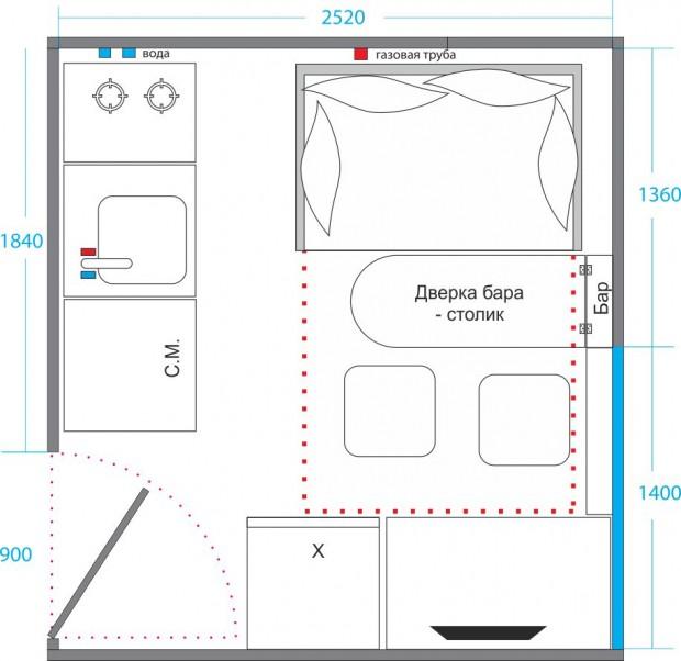 Планировка кухни с кроватью №1