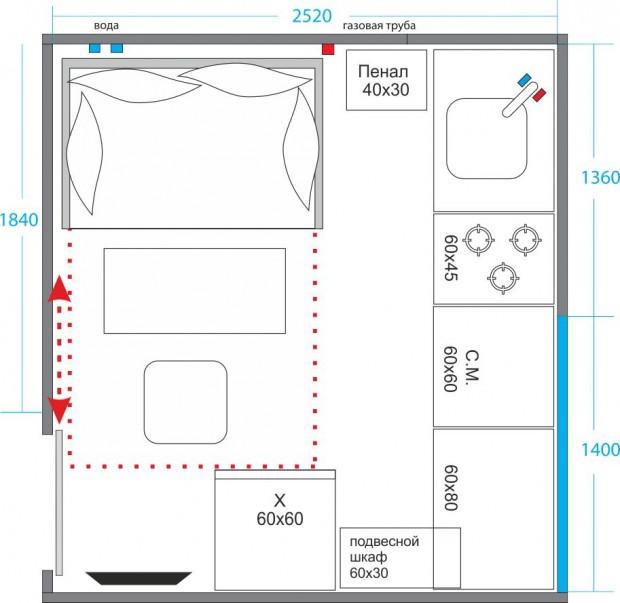 Планировка кухни с кроватью №2