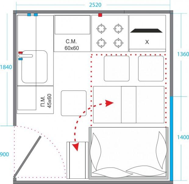Планировка кухни с кроватью №3