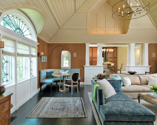 Сочетание коричневого и бирюзового в дизайне гостиной