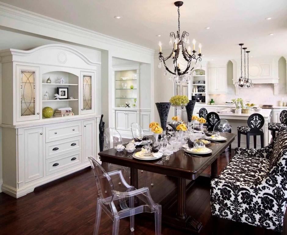 Приоритет белого цвета в черно-белой кухне