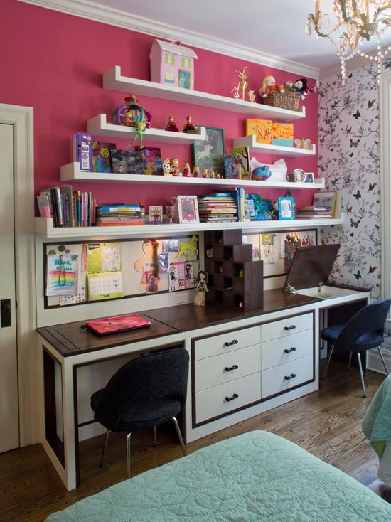 Детский стол для двух детей со встроенными нишами
