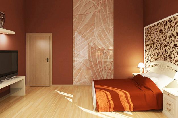 Крупная полоса светлого цвета по середине спальни
