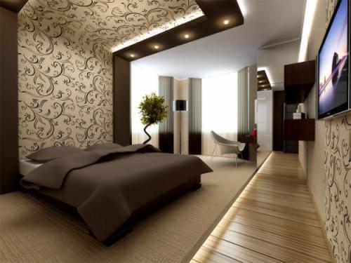 комбинирование обоев в спальне 58 фото интерьеров
