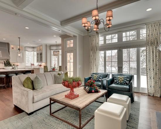 Классический стиль гостиной совмещонный с кухней
