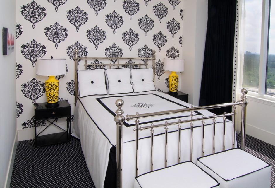 Стильное оформленная спальня в черно-белых тонах