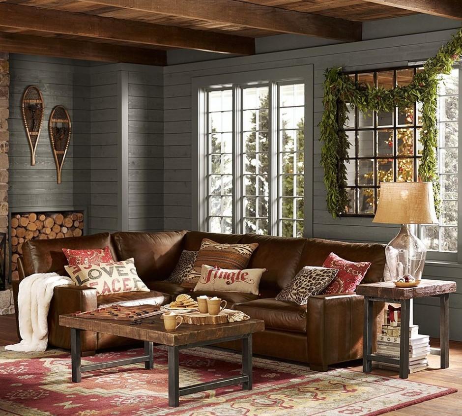Интерьер комнаты в серо-коричневых тонах