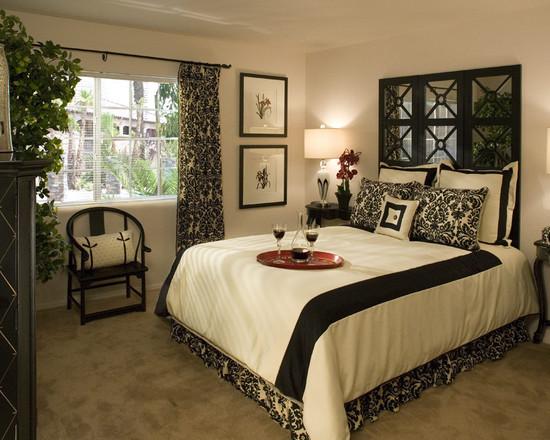 Черно белая спальня в ретро стиле