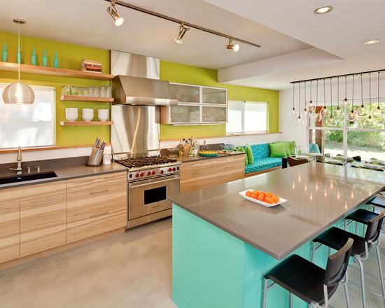 Голубой и салатовый как необычное сочетание цветов для кухни