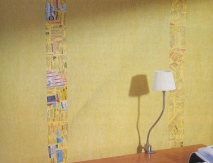 yellow-wall-paint-decorating-with-patchwork-wallpaper
