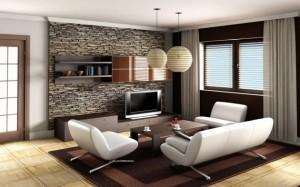 Искусственный камень в интерьере гостиной