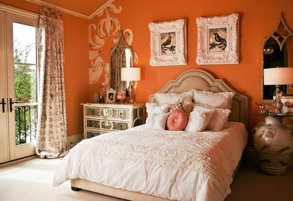 Спальня в оранжевых тонах фото