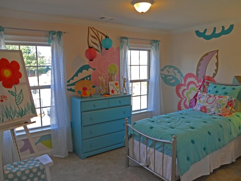 Планировка детской комнаты в голубых тонах