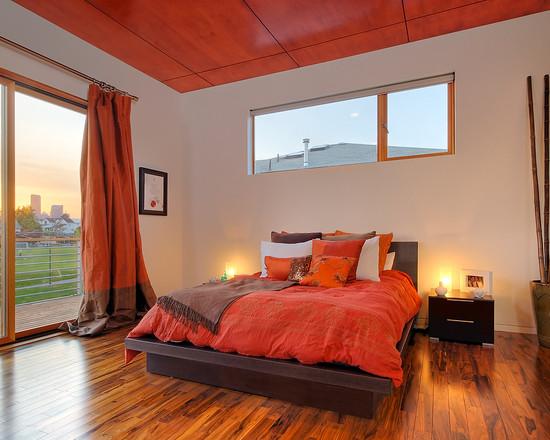 Оранжевая спальня в стили минимализм