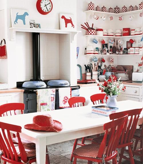 Декор кухни красными предметами