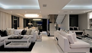 An-open-floor-living-area-with-black-and-white-color-scheme