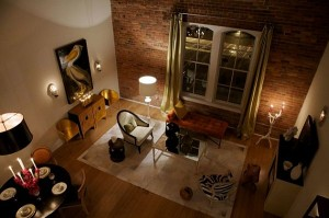 Contemporary-Living-Room-With-Exposed-Brick-Walls