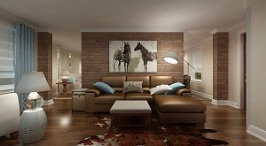Contemporary-New-York-Family-Room-With-Brick-Wall