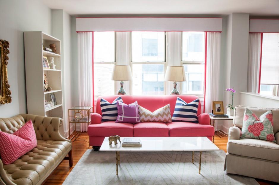Розовая гостиная в стиле модерн