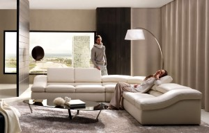 Modern-living-room-with-black-coffee-table-and-white-sofa