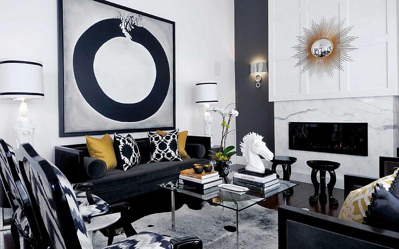 Хай-тек гостиная в черно-белом стиле