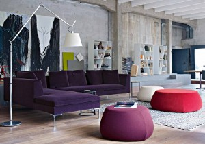 Purple-L-shaped-sofa