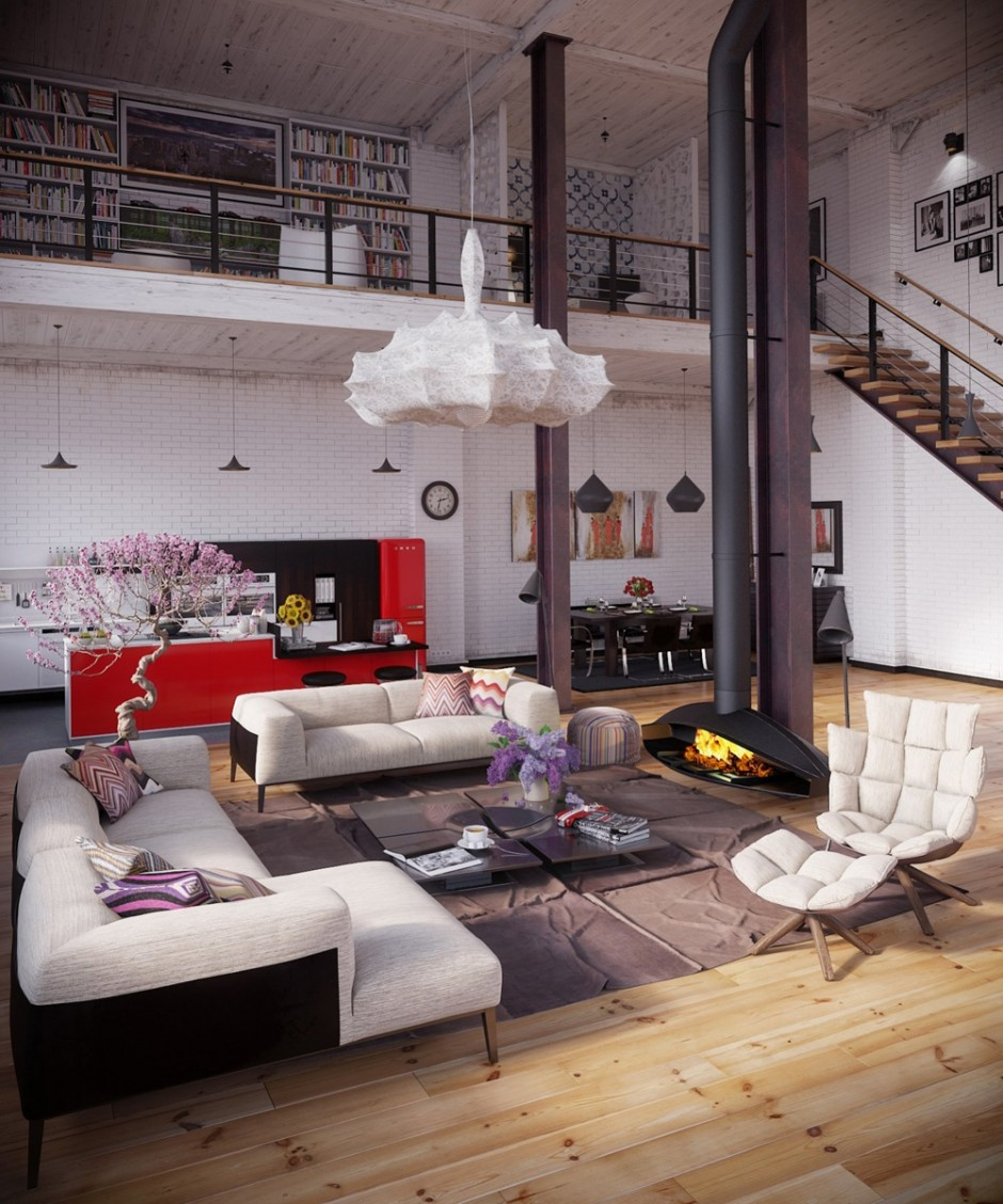 Стиль модерн в большой лофт квартире